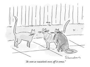 """""""As soon as vacation's over, off it comes."""" - New Yorker Cartoon by Danny Shanahan"""
