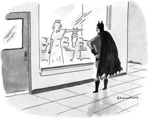 Batman watching through the maternity ward window as his newborn infant cl… - New Yorker Cartoon by Danny Shanahan