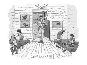 """Camp Wannabe.  Starlet-type counselor stands in doorway of bunkhouse and s…"""" - New Yorker Cartoon by Danny Shanahan"""