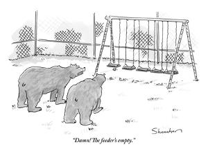 """Damn! The feeder's empty."" - New Yorker Cartoon by Danny Shanahan"