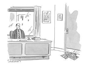 Executive at of?ce desk looks at pile of 'While You Were In' slips stuffed… - New Yorker Cartoon by Danny Shanahan