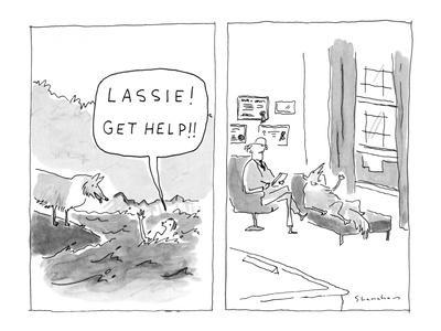 """""""Lassie! Get help!"""" - New Yorker Cartoon"""