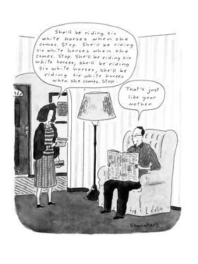 """Married couple are in their living room and the man's wife reads a telegra?"""" - New Yorker Cartoon by Danny Shanahan"""