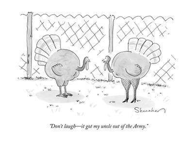 One turkey looks at his friend, who is wearing leggings and high heels - New Yorker Cartoon by Danny Shanahan