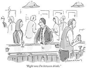 """Right now I'm between drinks."" - New Yorker Cartoon by Danny Shanahan"