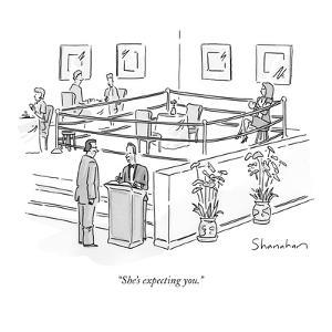 """She's expecting you."" - New Yorker Cartoon by Danny Shanahan"