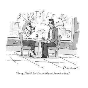 """Sorry, David, but I'm strictly catch-and-release."" - New Yorker Cartoon by Danny Shanahan"