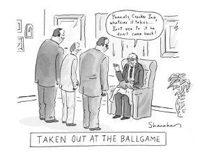 Taken Out At The Ballgame - New Yorker Cartoon by Danny Shanahan