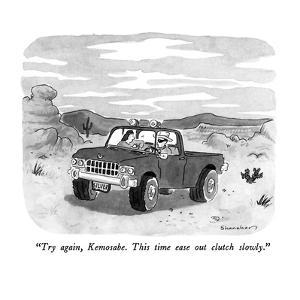 """""""Try again, Kemosabe.  This time ease out clutch slowly."""" - New Yorker Cartoon by Danny Shanahan"""
