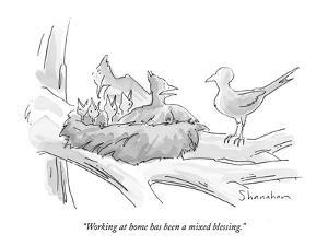 """Working at home has been a mixed blessing."" - New Yorker Cartoon by Danny Shanahan"