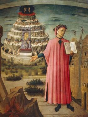 Dante Alighieri with Divine Comedy in His Hand and Mountains of Purgatory in Background by Dante Alighieri