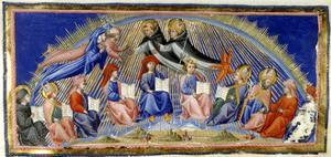 Dante and Beatrice in the Sphere Of the Sun Being Greeted by Aquinas and Albertus Magnu by Dante Alighieri