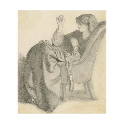 Lachesis: Study of Jane Morris Seated in a Chair Sewing, 1860s