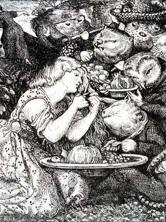Frontispece to 'Goblin Market and Other Poems' by Christina Rossetti, Engraved by William Morris