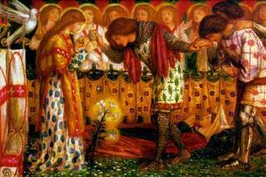 How Sir Galahad, Sir Bors and Sir Percival Were Fed with the Sanc Grael by Dante Gabriel Rossetti