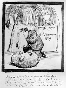 Rossetti Lamenting the Death of His Wombat, 1869 (Pen and Ink on Paper) by Dante Gabriel Rossetti