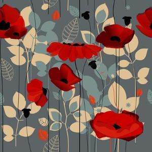 Poppy Flowers Seamless Pattern over Grey by Danussa