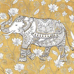 Color my World Elephant II Gold by Daphne Brissonnet