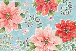 Country Poinsettias I Blue by Daphne Brissonnet