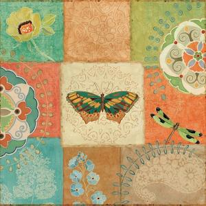 Folk Floral IV Center Butterfly by Daphne Brissonnet