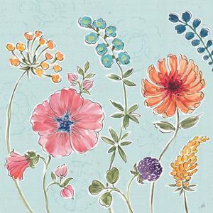 Gypsy Meadow III Blue by Daphne Brissonnet