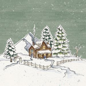 Holiday Toile Cabin Neutral Crop by Daphne Brissonnet