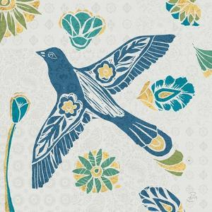 Nordic Woodcut Bird IFII by Daphne Brissonnet