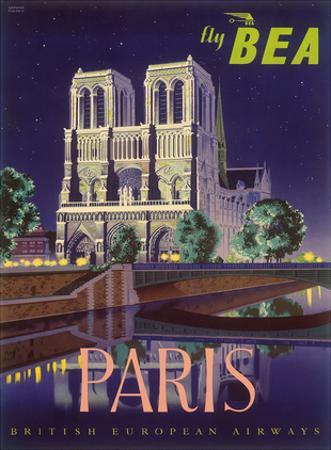 Paris - Notre Dame Cathedral by Moonlight - Fly BEA (British European Airways) by Daphne Padden