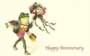 Dapper Frog with Bouquet, Happy Anniversary