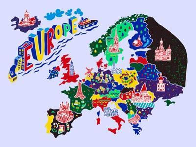 Cartoon Map of Europe. Travels by Daria_I