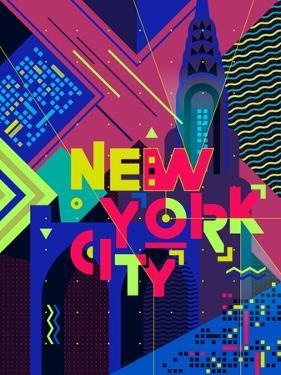 Flat Typography Poster. New York City by Daria_I