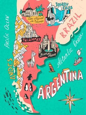 Illustrated Map of Argentina. Travel. Cartography by Daria_I