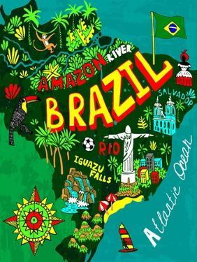 Illustrated Map of Brazil by Daria_I