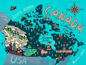 Illustrated Map of Canada. Travel. Cartography by Daria_I