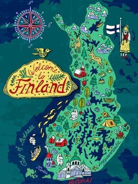 Illustrated Map of Finland. Travels by Daria_I