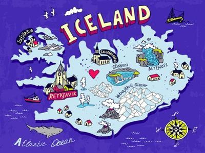 Illustrated Map of Iceland. Travel. Cartography by Daria_I