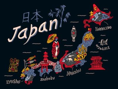 Illustrated Map of Japan by Daria_I