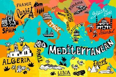 Illustrated Map of Mediterranean by Daria_I