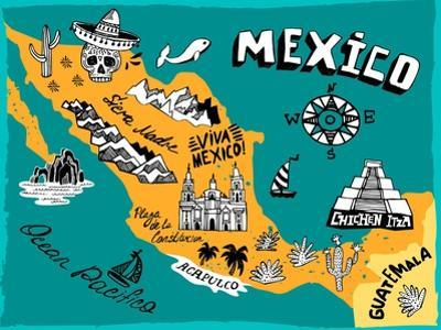 Illustrated Map of Mexico with the Main Attractions by Daria_I