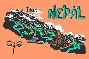 Illustrated Map of Nepal by Daria_I