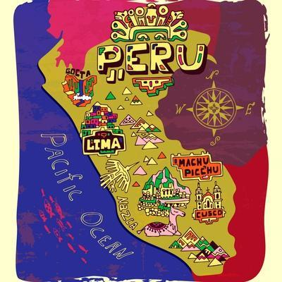 Illustrated Map of Peru. Travel