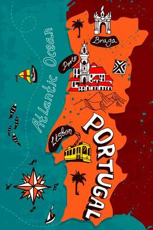 Illustrated Map of Portugal