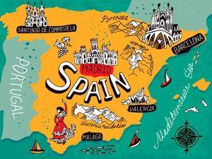 Illustrated Map of Spain by Daria_I
