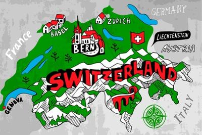 Illustrated Map of Switzerland by Daria_I