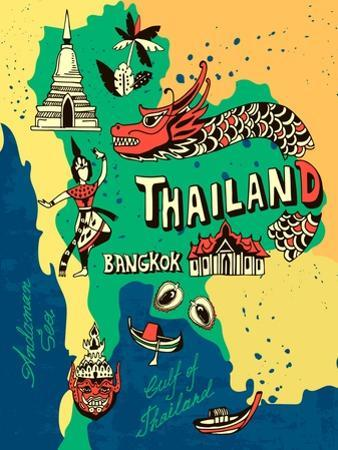 Illustrated Map of Thailand by Daria_I