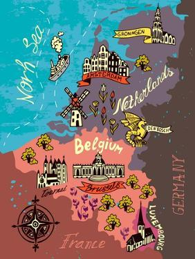Illustrated Map of the Netherlands, Belgium, Luxembourg by Daria_I
