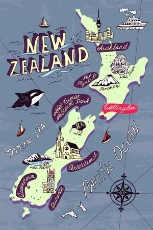 Illustrated Map of the New Zealand