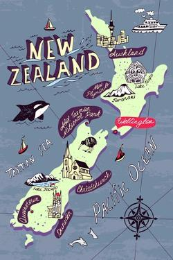 Illustrated Map of the New Zealand by Daria_I