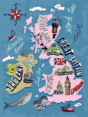 Illustrated Map of the UK and Ireland by Daria_I