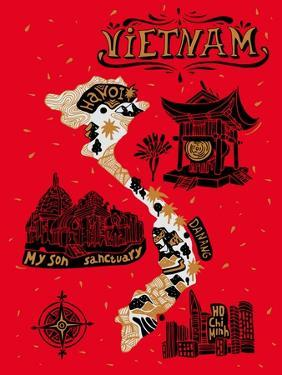 Illustrated Map of Vietnam by Daria_I